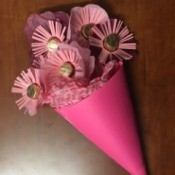 Candy Flower Bouquet - dark pink paper cone with candy flowers
