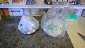 A bag that contains a head of cauliflower from the grocery store.