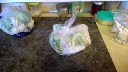 A bag of leftover cauliflower pieces.