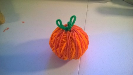 Crochet Yarn Pumpkins - stem glued to pumpkin