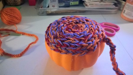 Yarn Bombed Pumpkin -  continue down the sides