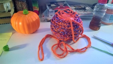 Yarn Bombed Pumpkin - burnt orange chain