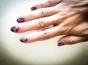 Quick Marbled Nail Art - finished nails
