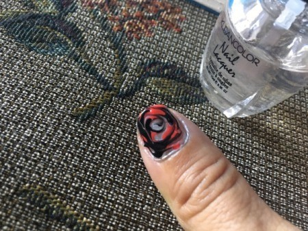 Quick Marbled Nail Art - when dry add a clear coat to fill indentations