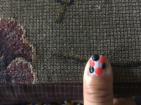 Quick Marbled Nail Art - add big dots of third color between second, quickly before polish dries