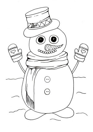 Do You Wanna Build a Snowman Kids' Coloring Page - cute snowman coloring page