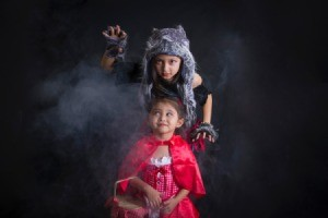 Girls Dressed as Wolf and Red Riding Hood