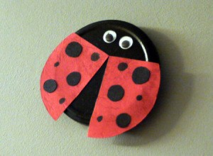 Recycled Metal Lid Ladybird (Ladybug) Wall Decoration - finished ladybug wall decoration