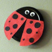 Recycled Metal Lid Ladybird (Ladybug) Wall Decoration - finished ladybug wall decoration