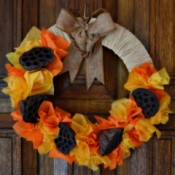 Lotus Pod and Crepe Paper Fall Wreath - fall wreath on door