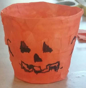 Tissue Paper Covered Jack-o-Lantern Treat Cup