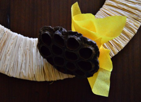 Lotus Pod and Crepe Paper Fall Wreath - glue ruffled squares of crepe and tissue paper flowers to wreath