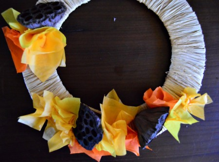 Lotus Pod and Crepe Paper Fall Wreath - continue gluing paper and final 2 pods to the wreath