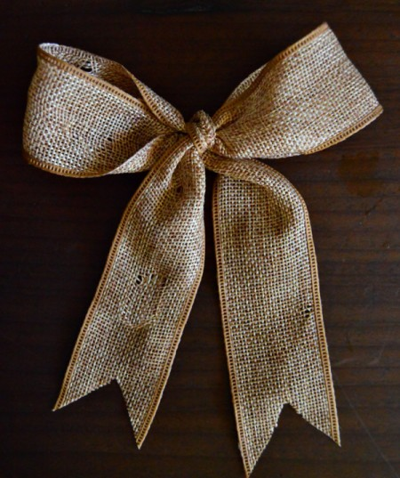 Lotus Pod and Crepe Paper Fall Wreath - make a bow with the burlap ribbon and snip ends