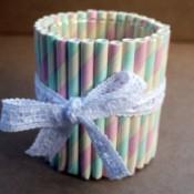 Drinking Straw Candleholder - candleholder not lit
