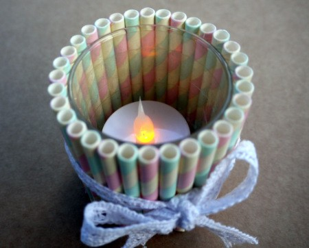 Drinking Straw Candleholder - add a battery operated tea light