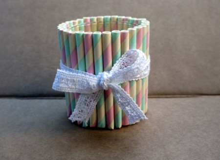 Drinking Straw Candleholder - leave as is or add a decoration of your choice such as a lacy bow