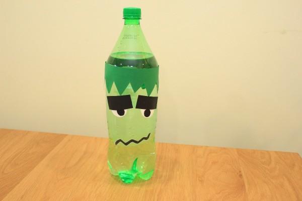Halloween frankenstein soda bottle craft thriftyfun for Bottle craft