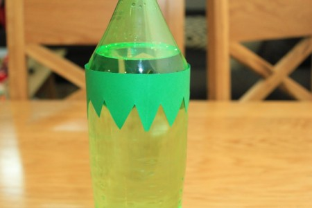 Halloween Frankenstein Soda Bottle Craft - closeup of hair