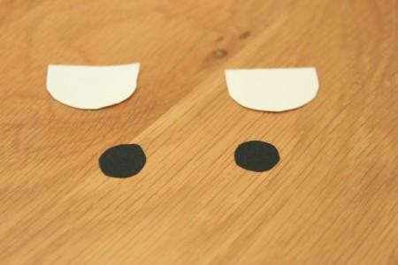 Halloween Frankenstein Soda Bottle Craft - white paper eyes and black pupils