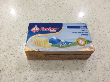 A package of butter from New Zealand.