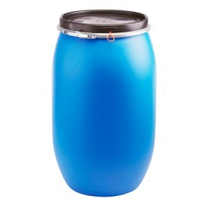 Blue 50 Gallon Plastic Barrel