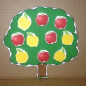 Printed Velcro Apple Trees - tree at red and yellow apples