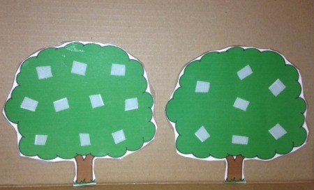 Printed Velcro Apple Trees - print out trees, laminate, and add hard Velcro for apples