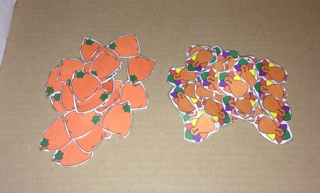 Thanksgiving Counting Cups  - laminated pumpkins and turkeys