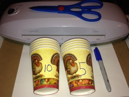 Thanksgiving Counting Cups  - supplies