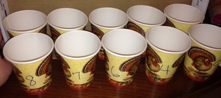 Thanksgiving Counting Cups - cups with a number written on the side