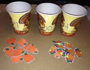 Thanksgiving Counting Cups - cups and pieces
