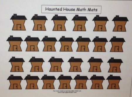 Haunted House Math Mat - print out mat and laminate if desired