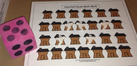 Haunted House Math Mat  - roll die and place ghost on mat