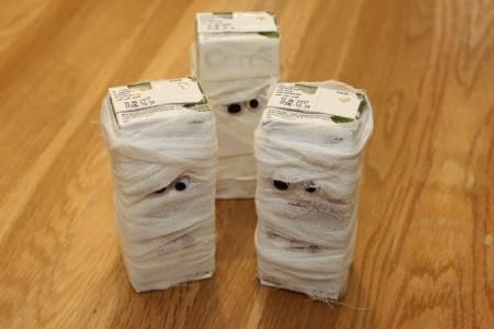 Halloween Mummy Juice Box - gauze and tape mummy boxes
