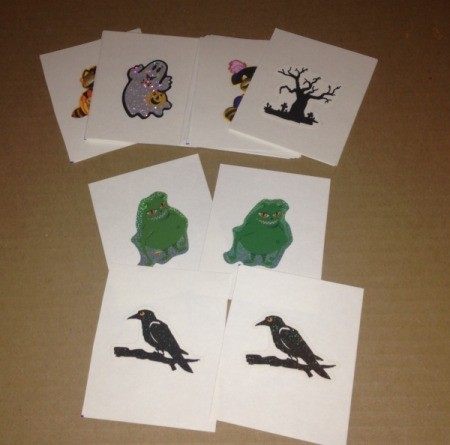 Halloween Memory and Number Matching Cards - cut index cards in half and place matching stickers on each half