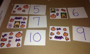 Halloween Memory and Number Matching Cards  - playing the number matching game