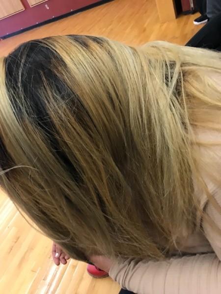 Re-dyeing Hair - blonde hair wth darker roots