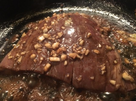 Balsamic Crispy Garlic Steak in pan