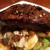 Balsamic Crispy Garlic Steak on plate
