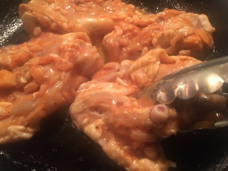 cooking chicken in pan