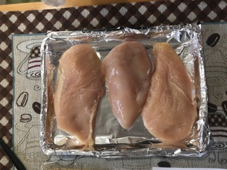 Chicken Breasts on foiled baking tray