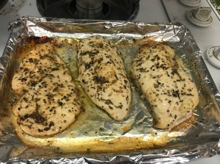 Seasoned Baked Chicken Breasts on baking tray