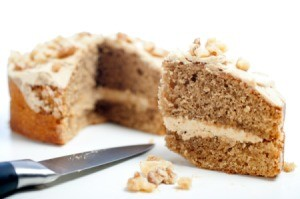 Freshly made coffee cake slice
