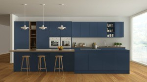 Navy and white kitchen with wooden details