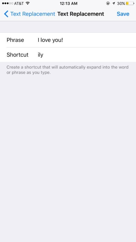 "Organize Your Phone with Shortcuts - the phrase ""I love you"" listed as a the shortcut ily."