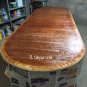 Varnishing a Table Top - varnished table