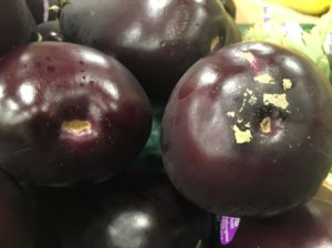 A collection of eggplants.