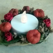 Autumn Tea Light Candle Wreath - finished wreath with flameless candle