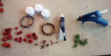 Autumn Tea Light Candle Wreath - supplies